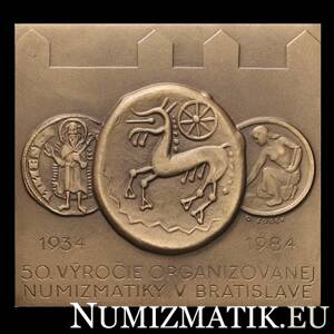 50th anniversary of organized numismatics in Bratislava, tombac plaque - D. Zobek